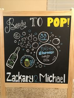 Ready to Pop Baby Shower chalkboard sign with champagne mint and gold theme. Sign from Ikea.