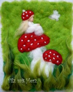 Familie Fliegenpilz - handgefertigte Bilder aus Merinowolle - Wollbilder Filz mit Herz
