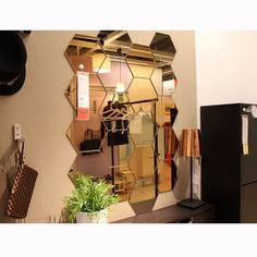 12Pcs 3D Mirror Gold Removable Wall Sticker Hexagon Vinyl Decal DIY Art Decor #Unbranded #ArtsCraftsMissionStyle
