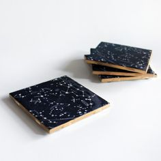 Make these simple and beautiful vintage constellation map coasters