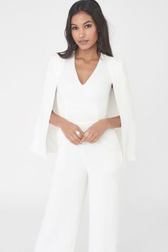 One Shoulder Cape Jumpsuit in White – Lavish Alice Prom Jumpsuit, Cape Jumpsuit, Cape Dress, White Pantsuit, White Jumpsuit, Shoulder Cape, One Shoulder, Designer Jumpsuits, Nice Dresses