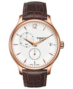 Tissot Watch, Men's Swiss Tradition Brown Leather Strap 42mm T0636393603700