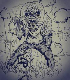 Music Cover parody pt 34 Iron Maiden -  The Number Sketching idea for acrylic Paint  #inktober #inktober2016 #ironmaiden #blondie #rock #thenumberofthebeast #brucedickinson #coverlp #parody #blood #caricature #heavymetal #newwave #beat #punk #drum #liveafterdeath #Eddie #eddiethehead #edwardth #derekriggs #tribute #mascotte