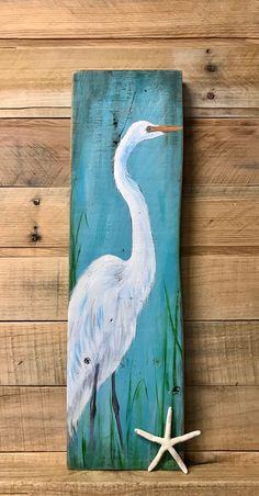 Pallet Painting, Painting On Wood, Bird Painting Acrylic, Pelican Art, Tropical Art, Coastal Art, Driftwood Art, Beach Art, Canvas Art