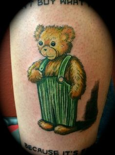 50 Incredible Tattoos Inspired By Books From Childhood. I have at least three ideas for my next tattoos from my favorite books :) Incredible Tattoos, Great Tattoos, Corduroy Bear, Best Tattoo Ever, Literary Tattoos, Bookish Tattoos, Book Tattoo, Kids Story Books, Time Tattoos