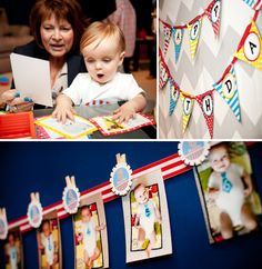 Birthday banner for baby boy - take a picture each month in a white onesie and a tie.  The tie shows how many months he was in each picture.