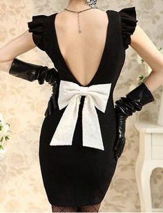 Vintage Flat Collar Backless Big Bow Sleeveless Women's Bodycon Dress Vintage Dresses | RoseGal.com Mobile