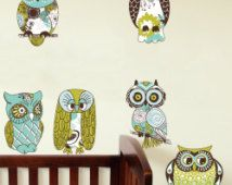 wsd124 - cute cartoon owls wall decal set - Nursery room wall decal