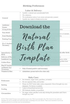 natural unmedicated childbirth plan