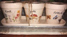 NEW! RAE DUNN BLOOM, GROW, FLOURISH PLANTER SET WITH CERAMIC TRAY! #RaeDunn #planterswithtray
