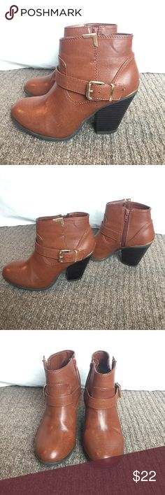 Ankle boots! JustFab brown ankle boots with gold buckle accent. Great for any season! Only worn once. JustFab Shoes Ankle Boots & Booties