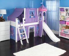 kinderhochbett mädchenzimmer bett rutsche rosa wandfarbe spiegel ... - Gestalten Rosa Kinderzimmer Kleine Prinzessin