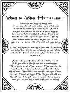 Spell To stop harassment