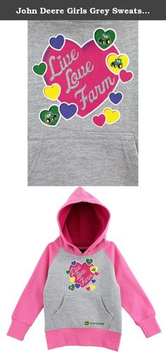 """John Deere Girls Grey Sweatshirt FGF238H (L(6X)). Your young lady will be comfy and warm in this John Deere girls fashion hoodie sweatshirt. Featuring soft cotton lining for softness and warmth, front patch pockets, ribbed-knit cuffs and waist, and classic John Deere screen print of hearts and the saying: """"Live, Love, Farm"""", this young girls John Deere hooded sweatshirt is a perfect choice for cold days or cool evenings."""