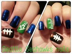 Seattle Seahawks nails. Done by me♥