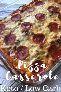 Keto/Low Carb Pizza Casserole - This is so delicious and it doesn't contain any cauliflower. It tastes just like the toppings on a Pizza Hut Meat Lovers Pizza #ket #lowcarb #ketogenic