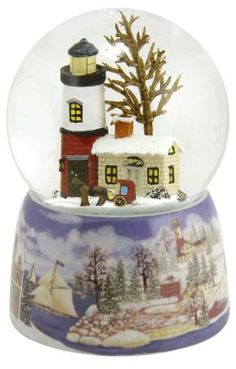 Lighthouse in the Snow Snow Globe. #SnowGlobe #Snow #Globe #Gift #gosstudio .★ We recommend Gift Shop: http://www.zazzle.com/vintagestylestudio ★