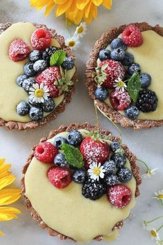 Mixed Berry Vanilla Bean Cream Tarts from @paleomg