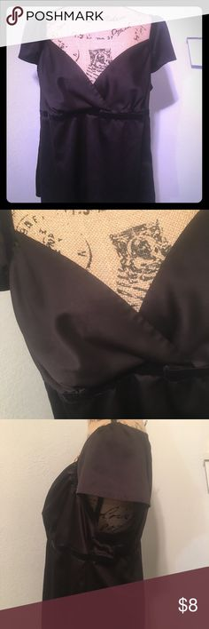 Daisy Fuentes Moda black satin top Daisy Fuentes black satin top with velvet embroidery along waistline and neckline, gently used condition, size XL.   🌺Please read my MTP before purchase 🌺 Daisy Fuentes Tops Blouses