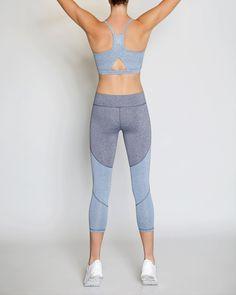 VIE ACTIVE Sage Racerback Sports Bra, Ink Blue Heather/French Velvet. #vieactive #cloth #