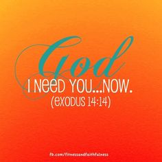 "God, I need you…now. ""The LORD will fight for you; you need only to be still""…Exodus 14:14."