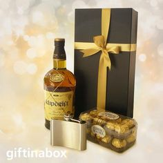 The premium brandy, to be enjoyed with a stainless steel hip flask and chocolates. All elegantly presented in a black presentation box with ribbons and bows in this premier brandy gift hamper South African Wine, Ferrero Rocher Chocolates, Wine And Liquor, Gift Hampers, Chocolate Box, Corporate Gifts, Ribbons, Special Gifts, Whiskey Bottle