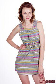 Vestido: modelo 17464. Precio $150 MXN #vestido #fresca #calor #primavera #rayas #cool #Lineas #colores