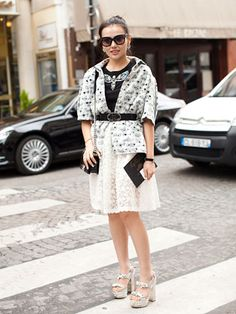 Fall 2013 Couture Week Street Style: Shirley, wearing Miu Miu shoes and a Simon Roger skirt