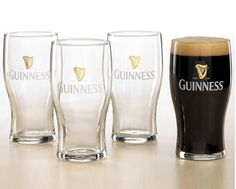 $9 for a Set of 6 Guiness Print Pint Glasses OR $12 for 6 Guiness Embossed Pint Glasses | Buytopia