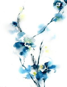 Blue Blossoms Watercolor Art Print, from Original Minimalist Floral Watercolor Painting, Wall Art, will be signed and dated on back by 'CanotStopPrints' on Etsy ♥•♥•♥