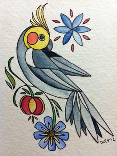 Cockatiel original watercolor by BirdAndCat on Etsy