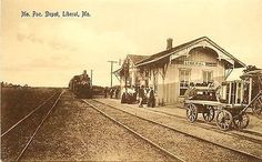 Liberal Missouri MO 1908 Train Missouri Pacific Railroad Depot Vintage Postcard - Moodys Vintage Postcards - 1