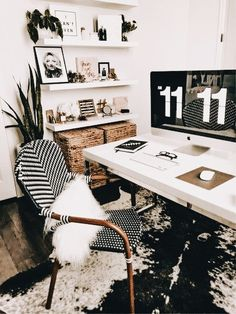 Black and White Decorating Ideas for Home Office Designs - Page 23 of 37 - VimDecor black and white home office, home office ideas, home office design, chic home office Office Shelf, Office Rug, Office Workspace, Smart Office, Office Shelving, Stylish Office, Office Walls, Wall Shelves, Bistro Chairs