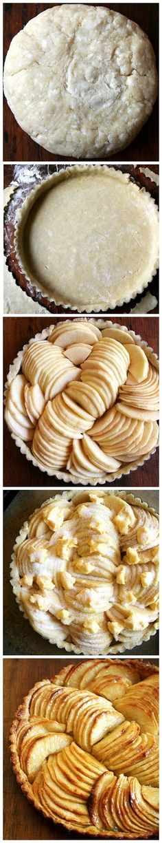 FRENCH APPLE TART!  Ingredients: 1 1/4 cups flour + more for dusting, 1 tbsp sugar (optional - this is my addition. I love a little sugar in a tart shell), 12 tbsp. unsalted butter (cubed, chilled & divided), 1/4 tsp. table salt, 7 Golden Delicious apples (peeled, cored, and halved), 1/4 cup sugar.