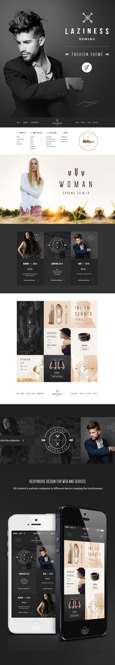 Laziness is a psd template for a responsive fashion site with online store. Although you can use the structure to any type of responsive project where the image becomes important.Not contains the photos used in the presentation.