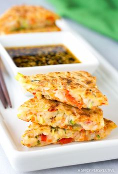 Korean Pancakes: Pajun (Pajeon) - Crispy Korean Pancake Recipe, called Pajun (Pajeon) loaded with veggies and serves with a spicy soy dipping sauce.