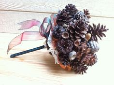 Rustic Wedding Bouquet, Pine Cone wedding, fall wedding, pine cone wedding bouquet, big bridal bouquet. $105.00, via Etsy.