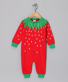 Take a look at this Red Strawberry Playsuit - Infant by Hollywood Mirror on #zulily today!