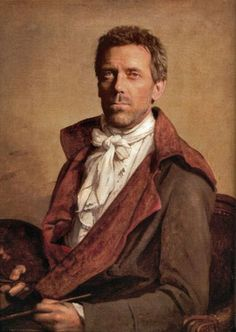 Jane Austen Today: Regency Beauty Fashion Show - Hugh Laurie in Regency garb. This outfit is not from the show but he had a great cameo as Mr Palmer in Sense and Sensibility. Renaissance Portraits, Renaissance Artists, Renaissance Paintings, Renaissance Time, Hugh Laurie, Funny Celebrity Pics, Celebrity Pictures, Jane Austen, Jacque Louis David