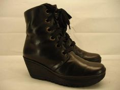 womens-8-8-5-M-39-fly-london-yarg-boots-lace-up-black-leather-ankle-wedge-combat
