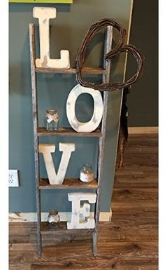 4 ft Blanket Ladder - Rustic Ladder Wood Wall Shelf You are in the right place about home decor habitacio - Rustic Ladder, Vintage Ladder, Rustic Shelves, Rustic Barn, Barn Wood, Wood Wall Shelf, Country Farmhouse Decor, Modern Farmhouse, Rustic House Decor