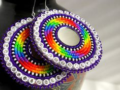 Rainbow Spiral Round beaded earrings, Blueroseredeye (Seneca) http://blueroseredeye.bigcartel.com