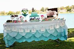 Mermaid/ Under the Sea party.  Great ideas, although it may be a bit much to give fish as a party favor..... http://pizzazzerie.com