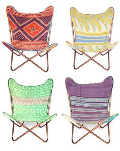 butterfly chairs with vintage sari fabric for upholstery