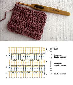 How to crochet Basketweave stitch, it has an interesting texture that looks like a basket - Chart ❥ 4U hilariafina http://www.pinterest.com/hilariafina/