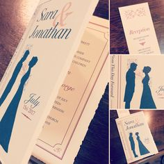 A book-inspired wedding invitation with bookmark reception card printed on Italian deckled-edge paper.
