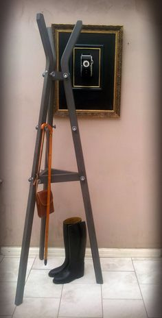 Vintage Industrial Tripod Coat Stand by ArthouseAttic on Etsy, £89.00 For Doorway area – coat stand option