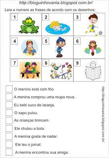 Bloguinho da Vânia: Atividade: Enumerando Frases