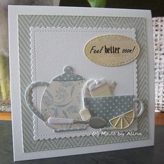 card tea pot tea cup cups lemon slice, fell better soon, good health wishes, MFT Tea Party Die-namics, MFT scalloped stitched square Die-namics Made by Alina: 2 x ''Feel Better Soon! Cricut Cards, Stampin Up Cards, Feel Better Cards, Tea Party Crafts, Mother Card, Coffee Cards, Marianne Design, Get Well Cards, Card Making Inspiration