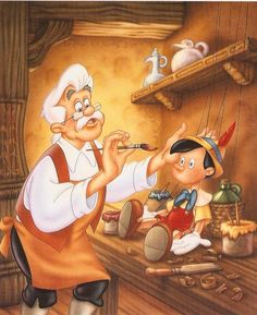 """Geppetto & Pinocchio"" © Disney Press - by Phil Wilson - watercolor using airbrush - for children's book"